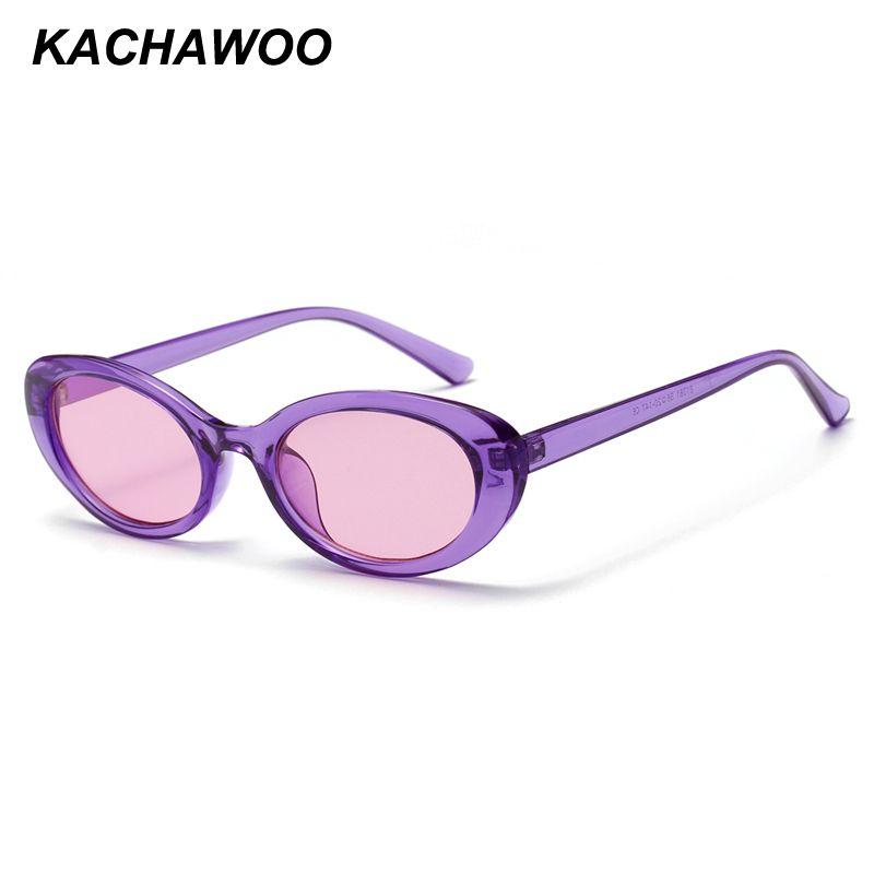 3a9d55cd9 Compre Kachawoo Mulher Oval Óculos De Sol Verão 2018 Doces Cor Roxa ...