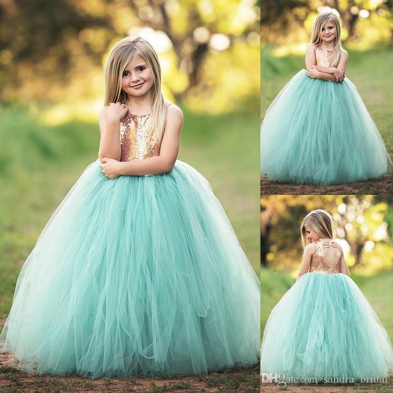 Cute Mint Green Ball Gown Flower Girl Dress 2018 Backless Gold
