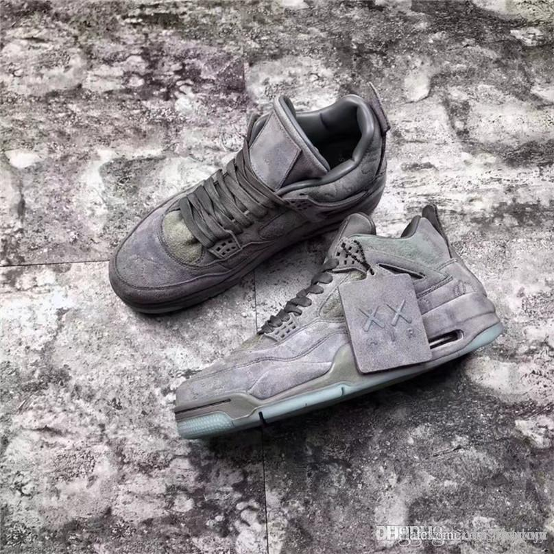 premium selection 0182c 0669a Newest Release 4 Kaws Cool Grey Suede 4s IV Men Basketball Shoes Authentic  Sports Sneakers Limited Shoes With Box 930155-003