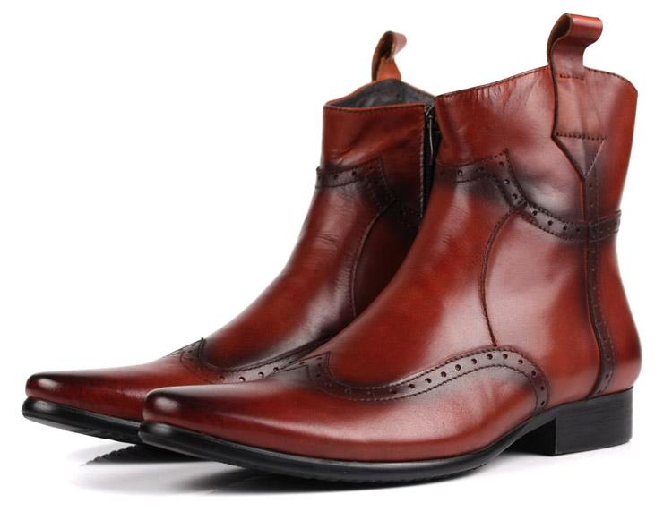 51a55e48fbe Fashion black / brown tan pointed toe motorcycle boots mens cowboy boots  mens genuine leather ankle