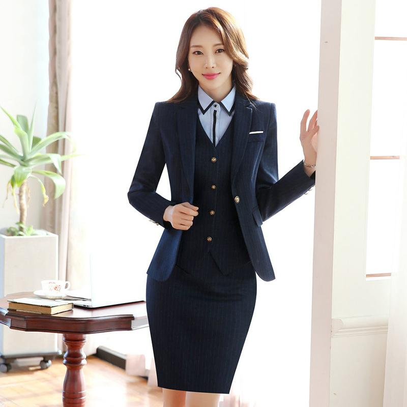 114c07c2b0 2019 Striped Professional Women Skirt Suits Formal Blazers Autumn Business  Ladies Office Work Wear Jacket/Skirt /Shirt /Vest/ Pants From Saltblue, ...