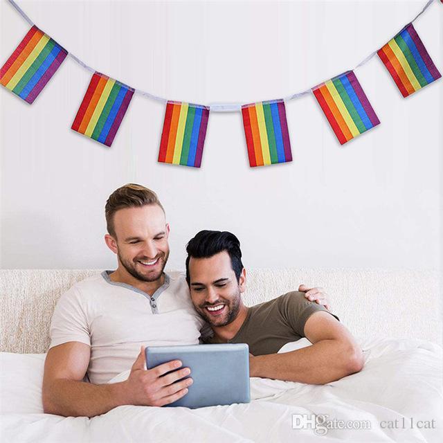 2019 5m Rainbow Flag Strings Colorful Rainbow Peace Flags