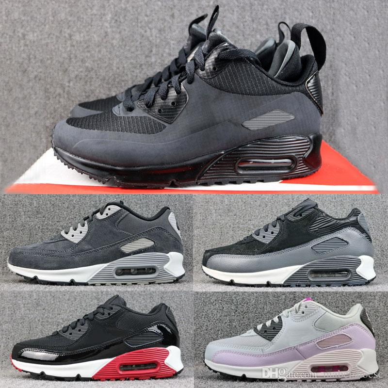 785cad4036f7 2019 Classic 90 Mid Leather Essential Men Women Running Shoes Black Red  Pink Designer Sneakers Trainer Air Cushion Double Boxed Sports Air Cushion  Shoes 90 ...