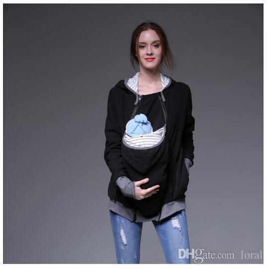 Outono Inverno Mulheres Tops Moda Portador de Bebê Com Capuz Zip Up Maternidade Com Capuz Camisola Com Capuz Hoodies