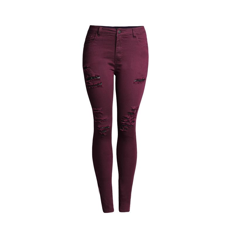 8c1da6a59e5 2019 4Xl Plus Size Wine Red Jeans For Women High Waist Skinny Jeans Elastic  Denim Jean Destroyed Ripped Push Up Denim Pencil Trouser From Smotthwatch