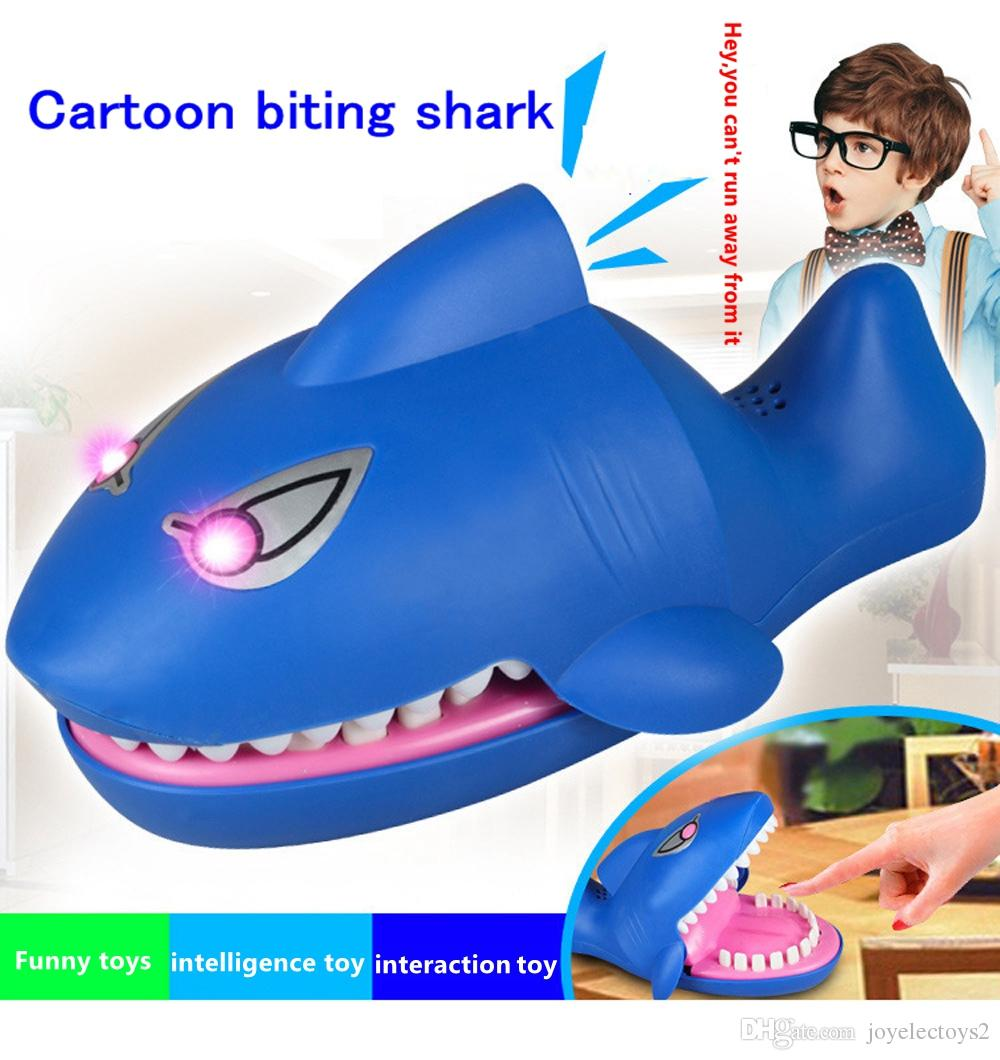 Bite Sharks Child Toy Jokes Novel Laughter Cartoon Tricky Fun Bite the hand Bite Finger Game Funny Toy with voice and red eyes light design