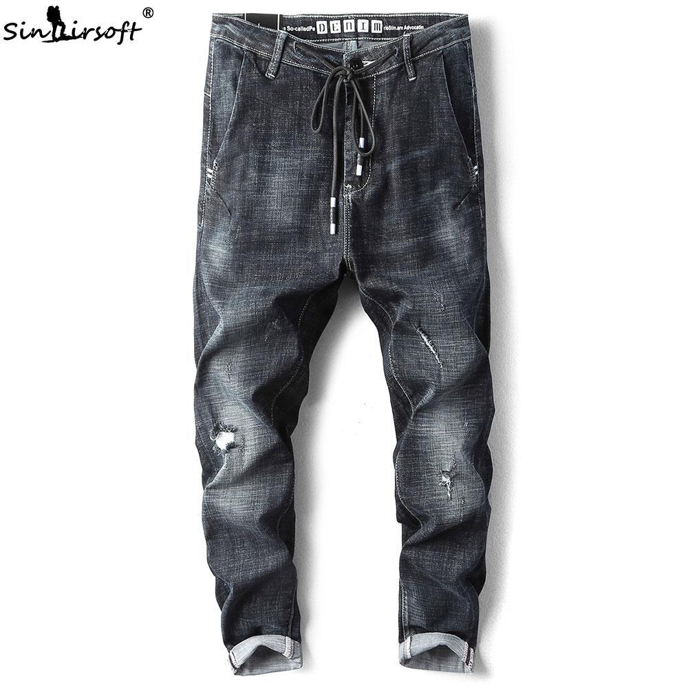 8282d77e0 Mens Jeans Skinny Stretch Spandex With Holes Men Streetwear Drawstring  Denim Pants For Street Wear Jean Homme Slim Pantolon blue