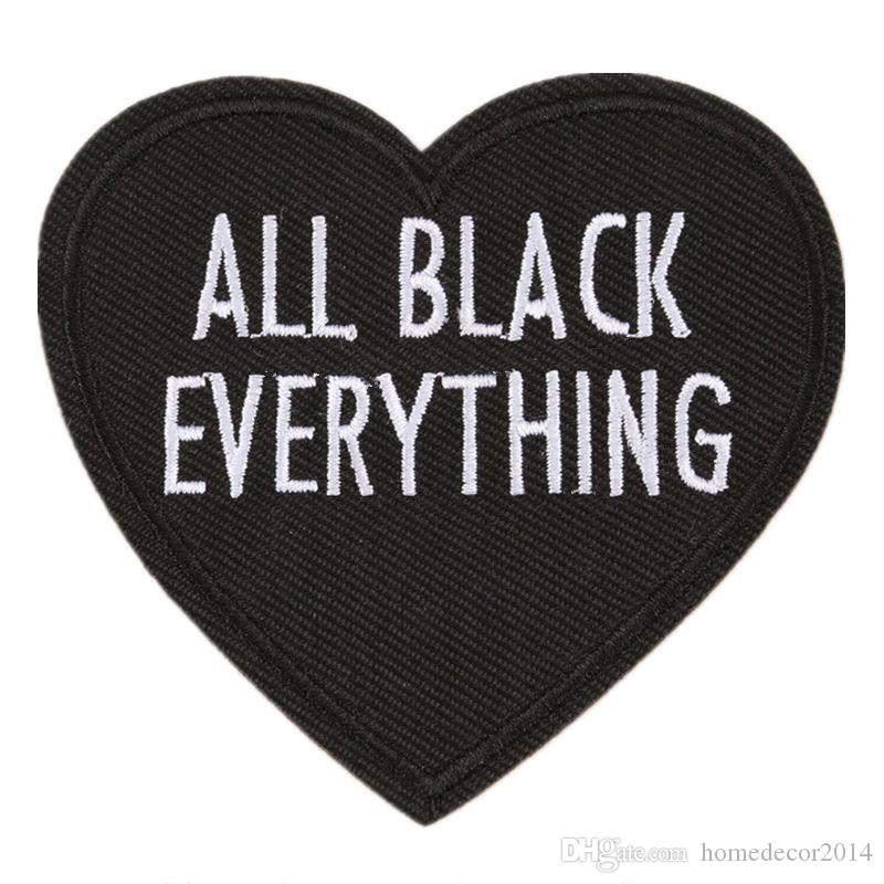 2019 embroidery letter patch all black everything heart shape sew iron on embroidered patches badges for bag jeans hat t shirt diy appliques from