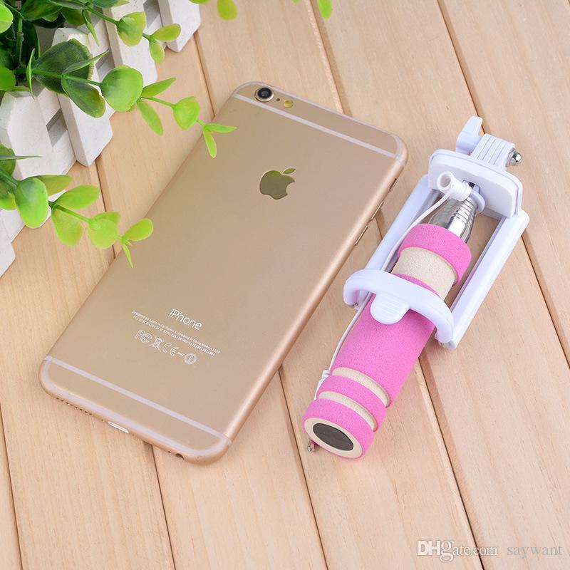 Einbeinstativ verdrahtet Selfie Stick Super Mini Kabel nehmen Pole faltbare All-in-One-Einbeinstativ Selbstauslöser Kit mit Rille für Smartphone im Retail-Box