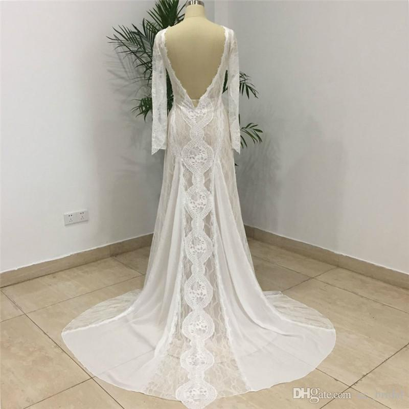 06088935e3 Elegant Lace Bohemian Wedding Dresses 2018 Sexy Backless Beach Long Sleeve  Mermaid Sweep Train Boho Bridal Gowns Real Sample Cheap On Sale Cheap  Mermaid ...