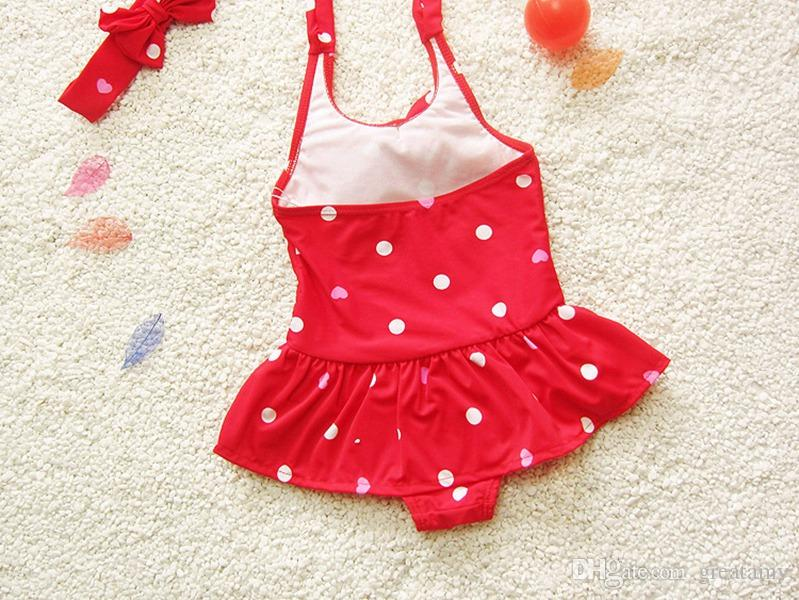 baby girls dot bowknot bow bikini suit swimwear swimsuit bathing swimming clothes kids girls one-piece swimwear with headband