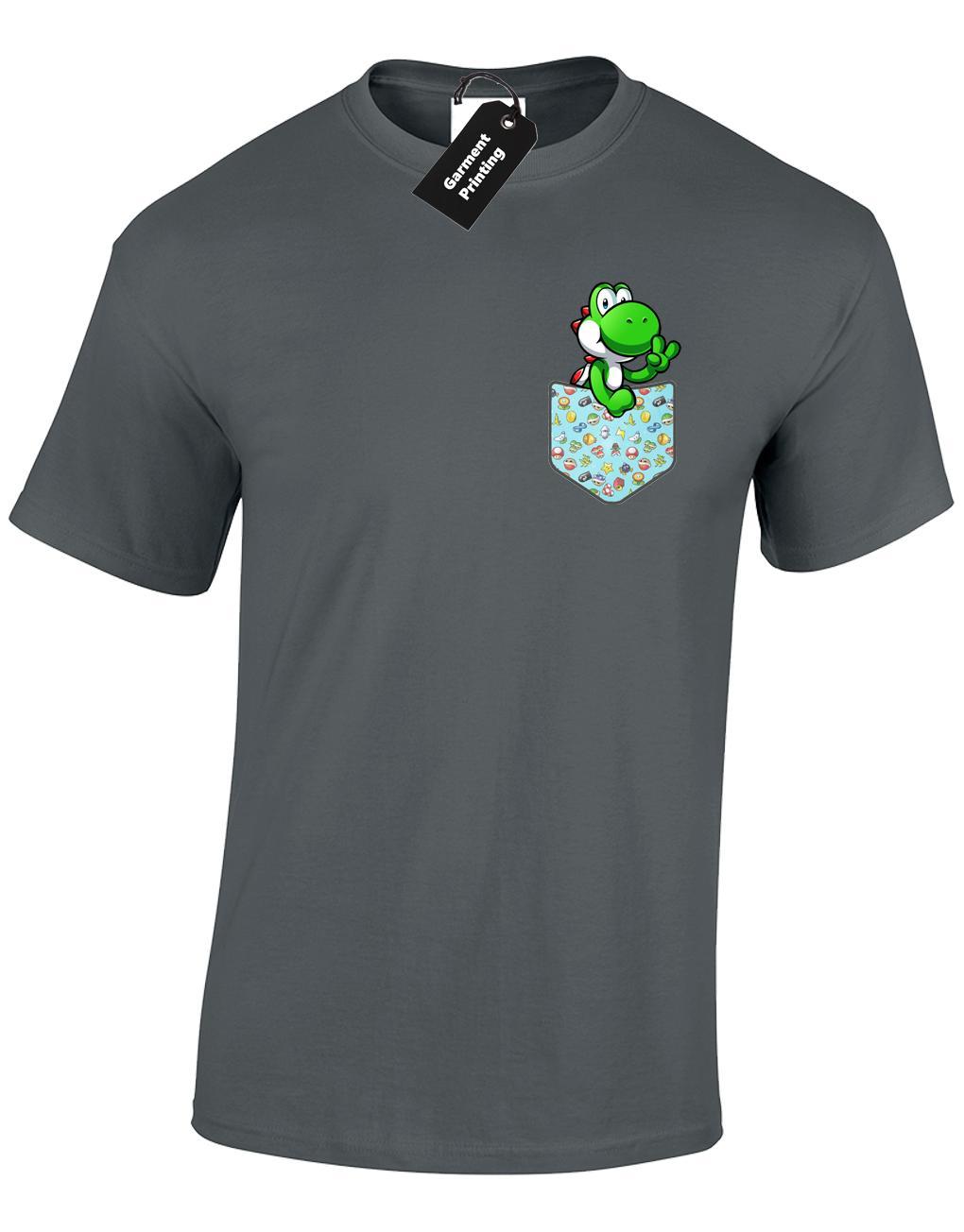 Yoshi Pocket Mens T Shirt Funny Gamer Retro Gaming Design Snes Gift