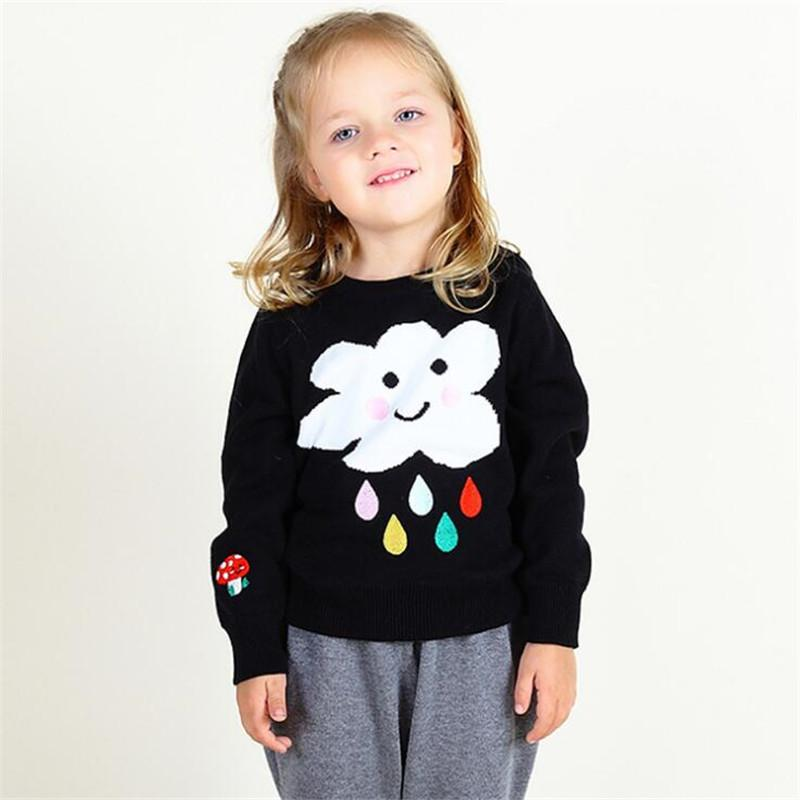 New Spring Girls Boys Knitted Sweater Clouds Pattern Long Sleeved