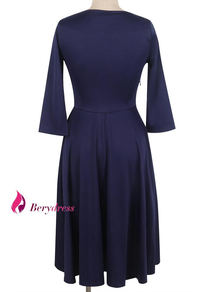 Berydress Autumn Winter 2017 Women Solid Vintage Swing Dress Hollow Out Neckline 3/4 Sleeve Stretchy A-Line Short Casual Dresses