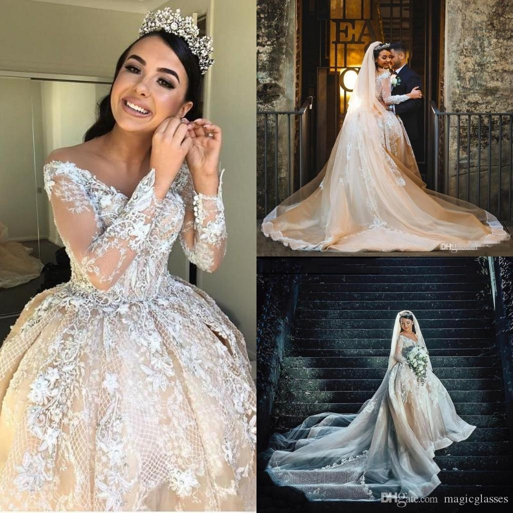 4d73701efe ... Luxury Beads Ball Gown Arabic Wedding Dresses Sexy Sheer Off The  Shoulder Long Sleeve Wedding Bridal Gowns Cathedral Train Wedding Dress  Designers List ...