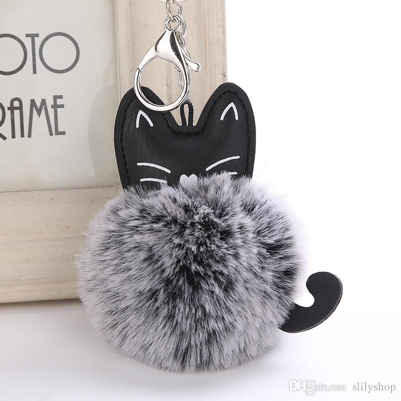 Gato de la historieta encantadora mullido clave de la pelota de Soft Pompón animal conejo cola de piel artificial llavero mujeres del bolso del coche del anillo dominante regalo
