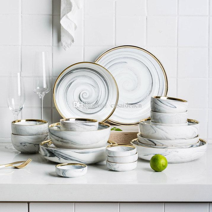 Nordic Gold Rim Marble Texture Dinnerware Set Round Ceramic Dinner Plates  Soup Plates Rice Bowls Seasoning Dishes Grey Pink Dinnerware Sets On  Clearance ...