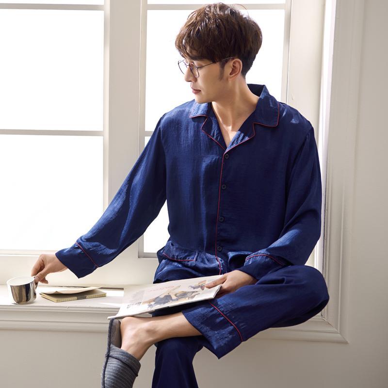 Men S Sleepwear Set Soft Polish Silk Spring And Summer Long Sleeve Plus  Size Home Wear Lounge Pajamas Set UK 2019 From Keviny 1042d82db