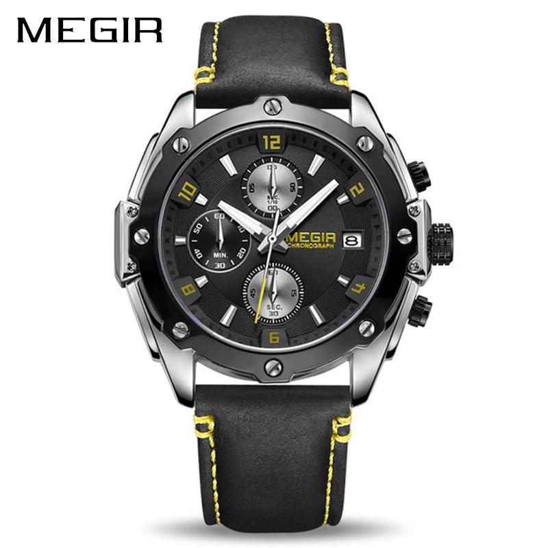 5b2bd3c3816 Compre Megir 2074 Relógio Cronógrafo Relogio Masculino De Negócios Relógio  De Quartzo Relógio Relogio De Pulso Militar Do Exército Militar Relógio De  Pulso ...