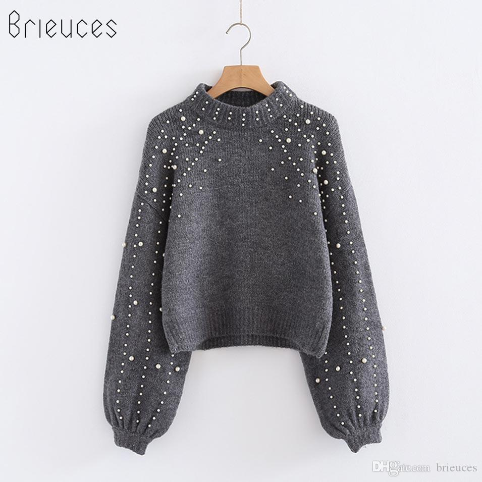 c310a2b344b31c 2019 Brieuces 2018 Pearl Beaded Loose Jumper Grey Crew Neck Lantern Sleeve  Autumn Winter Women Sweaters And Pullovers Women Tops Western Style From  Brieuces ...