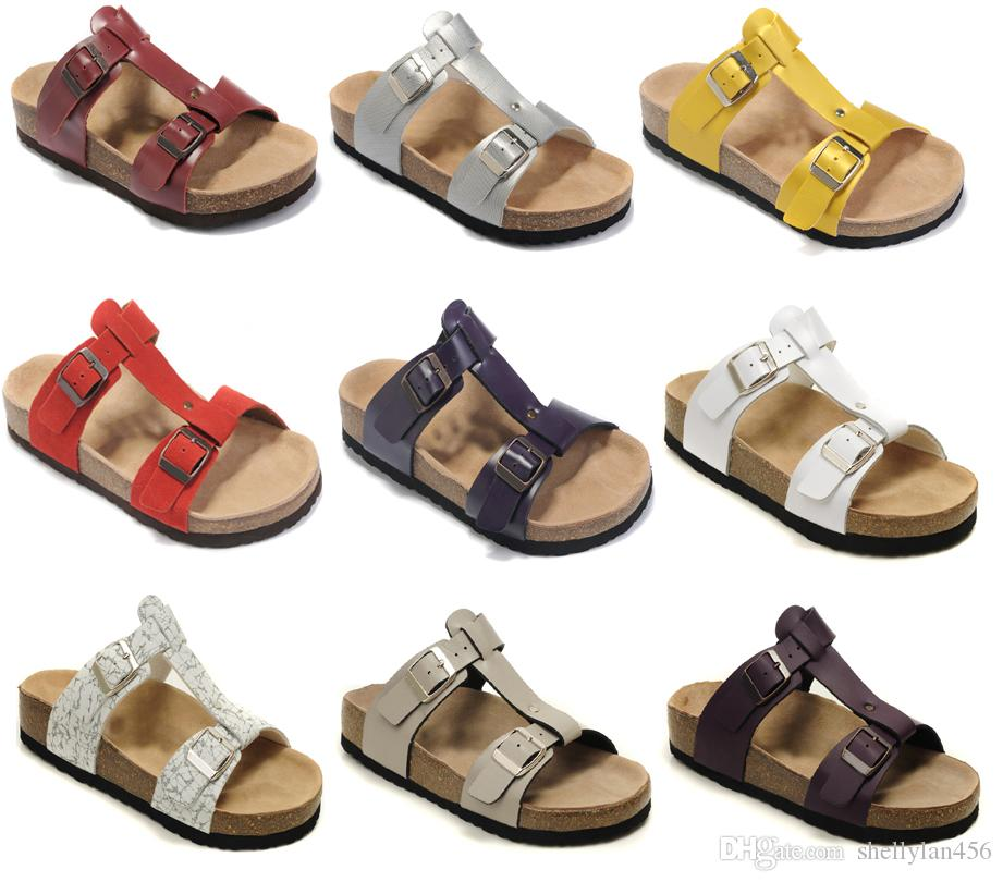 57a1834f9 Brand Shoes New Arizona Style Men Woman Flat Sandals Comfortable Casual Two  Buckle Original Box Summer Beach Genuine Leather Slippers Ballet Slippers  Boots ...