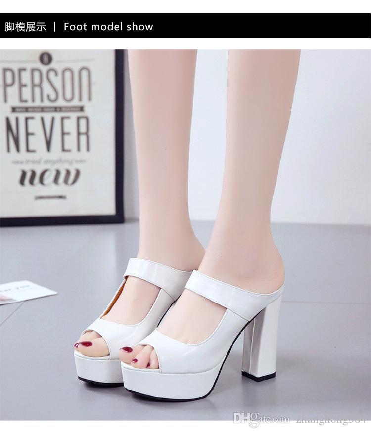 Cool moda salto alto para usar chinelos Ms xia han edição sapatos coringa com sandálias de boca de peixe à prova d 'água