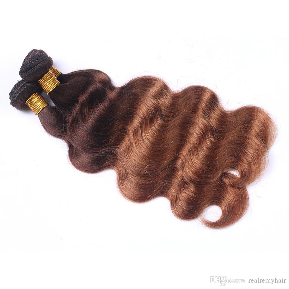 컬러 브라질 Ombre 인간의 머리카락 짜다 패션 스타일 4 분의 30 바디 웨이브 인간의 머리카락 4 번들 두 톤 금발 버진 헤어 확장