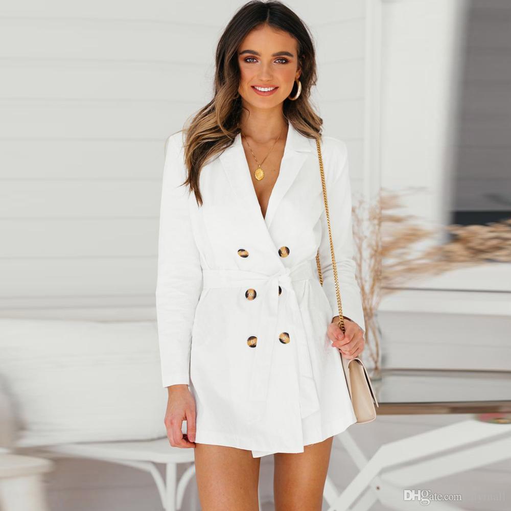 d826d6e6 Elegante mujer blanco gabardina mujer abrigos elegantes abrigos de doble  botonadura Casual manga larga outwear otoño invierno