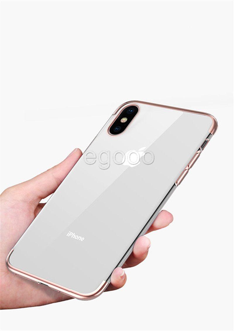 Ultra Thin Metall Galvanotechnik weicher TPU klarer Fall Transparente Abdeckung für iPhone 11 Pro Max Xs Xr 8 7 6S Plus-Samsung S8 S9 Plus-Note 10 9