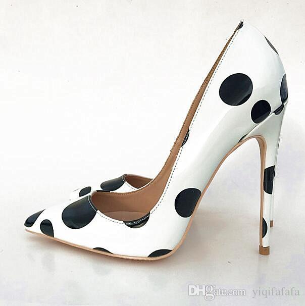 f54aa8860a3bfb Acheter Blanc Chaussures En Cuir Dot Chaussures Professionnelles Peu  Profondes Femmes Escarpins 12CM 10cm Sexy Ladies Bas Rouge Talons Stilletos  Slip On ...
