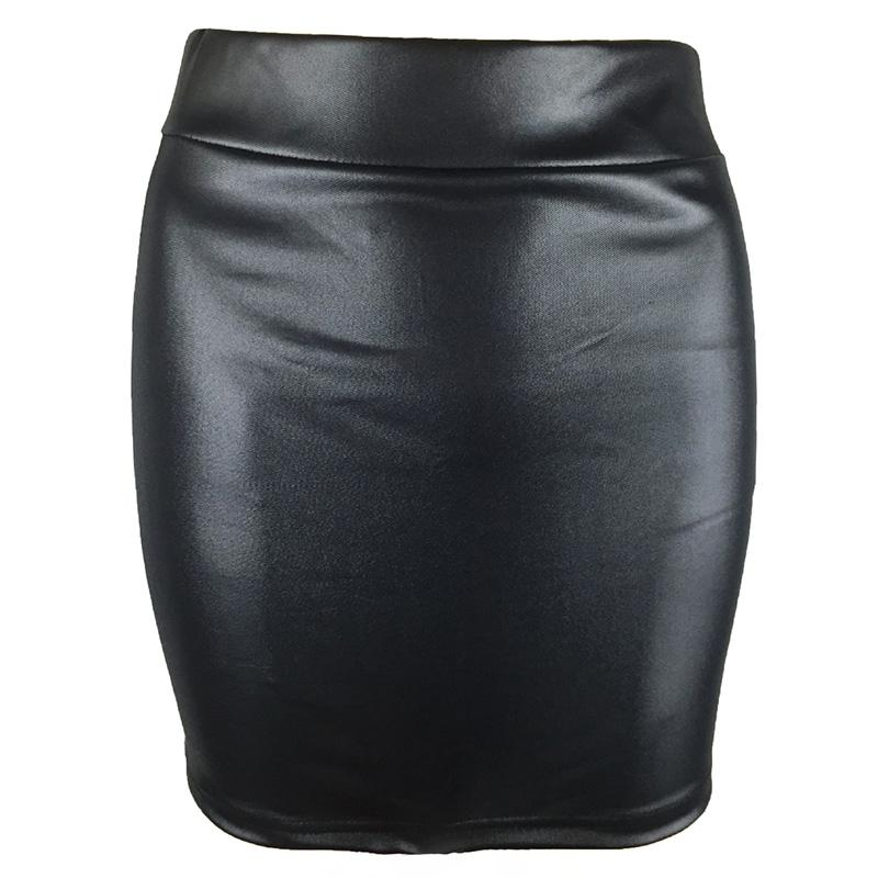 7603a3182e5 Black PU Leather Skirts 2018 Spring Summer Womens Pencil Skirts Sexy  Vintage Bodycon Mini Skirt Short Women Club
