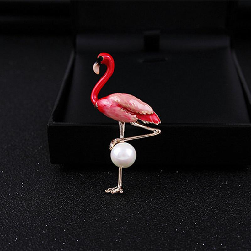 New Design Cute Red Blue Green Enamel Flamingo Brooches For Women Gold Color Simulated Pearl Animal Bird Brooch Broches