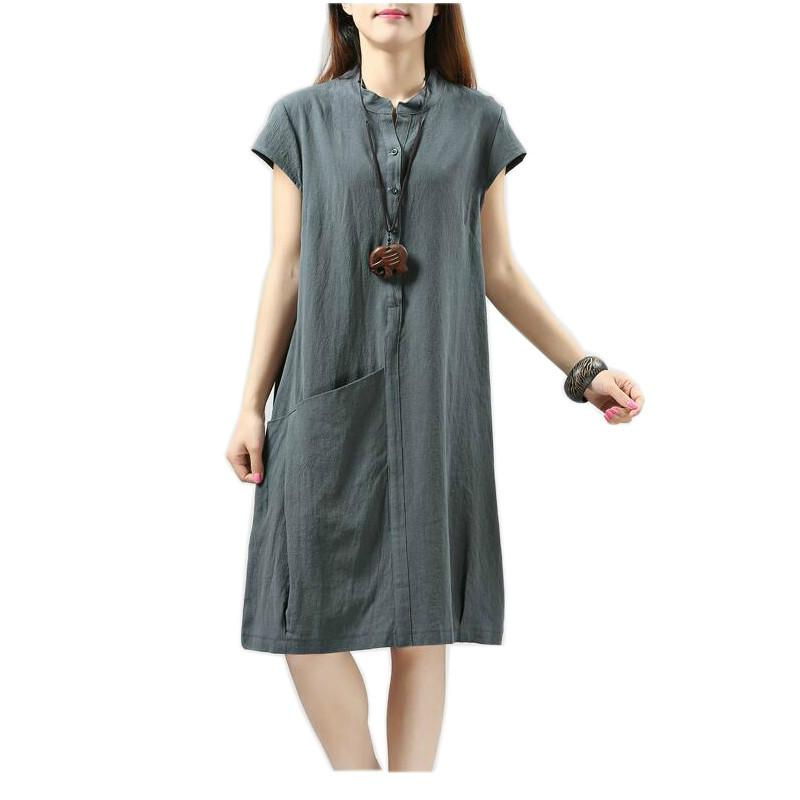 f114e03cd74d 2019 Dress Summer Women Pockets 0 Neck Loose Summer Dresses For Women White  Black Knee Length Long Sleeve Linen Dress From Luweiha