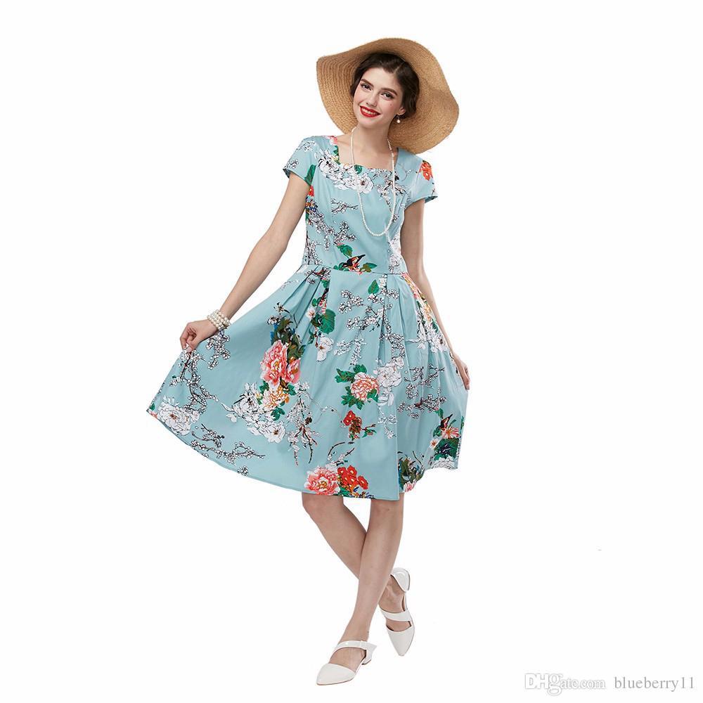 여름 여성 드레스 라이트 블루 오드리 햅번 50s 빈티지 플라워 프린트 로브 Feminino 볼 가운 파티 레트로 드레스 Vestidos 플러스 크기 S - 4XL