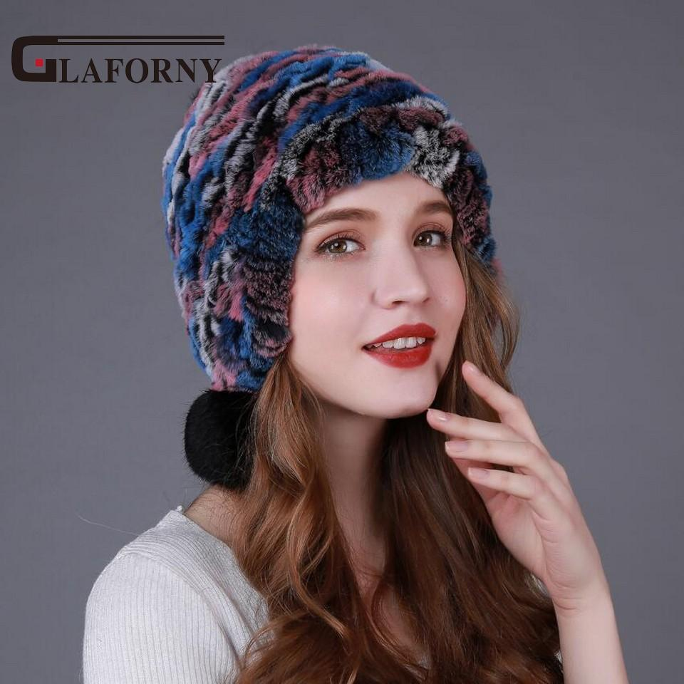 66bc9bb42bd Wholesale- Glaforny 2017 Knitted Rex Rabbit Fur Hats with Ear ...