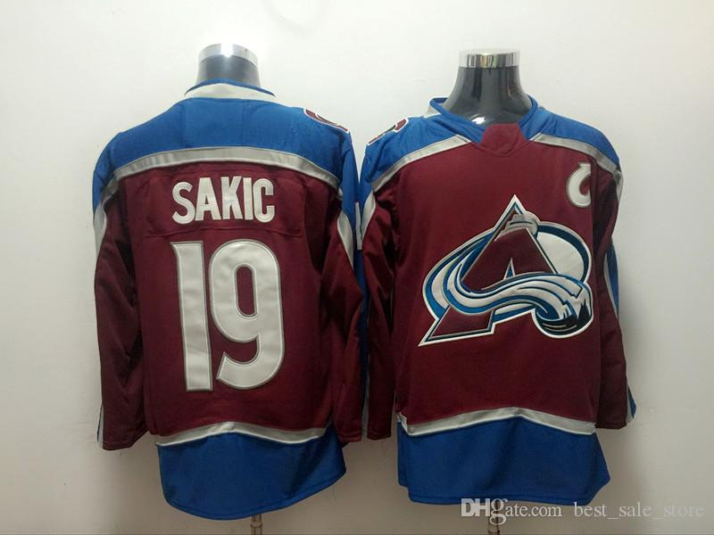 online store 9f668 06a65 Men 19 Joe Sakic Jersey 9 Matt Duchene Blue Red White Ice Hockey Colorado  Avalanche Jerseys 29 MacKinnon 92 Landeskog 1 Varlamov