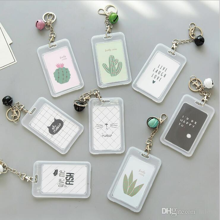 Clear Bank Id Credit Card Case Holder Keychain With Bell