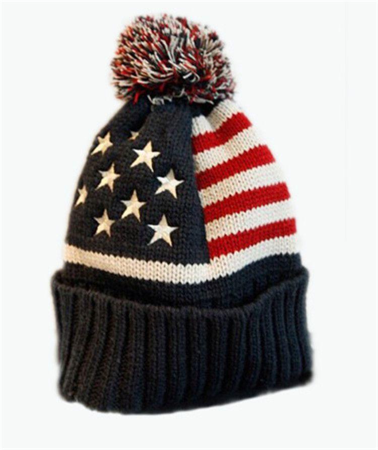 51e8d6b734d3dd 2019 New Winter Unisex Knit Beanie Hat USA Flag Pattern Pom Pom Knitted Cap  Hat From Hcaihong