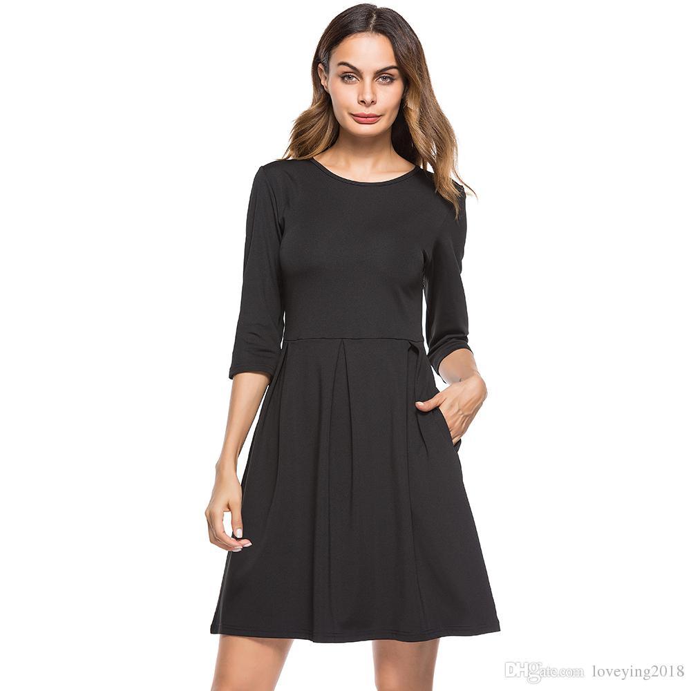c77eda648c Compre Vestido Informal Negro Con Bolsillos Para Mujer Vestido Largo  Brillante 3 4 Vestidos Midi Burdeos 2018 Vestido Ajustado Y Llamativo A   22.81 Del ...