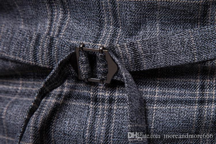 New Mens Sleeveless Vest Spring Autumn Fashion Casual Lapel Neck Plaid Men's Vest Business Suit Men Clothes