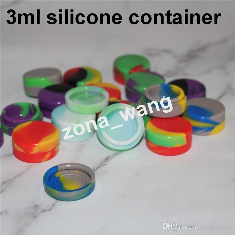 100% lebensmittelqualität 3 ML 5 mL 7 mL Dabber Silikonölbehälter Runde Konzentrat Ölwachs Gläser Tupfen Wachsbehälter Für Klieschen Bestehen FDALFGB Test