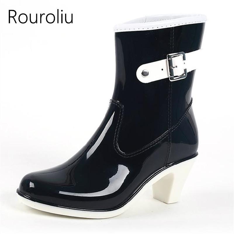Rouroliu Frauen High Heels Keile Regen Stiefel Mitte der Kalb Wasserdichte PVC Rain Wasser Schuhe Frau Gummistiefel Stiefel TR13