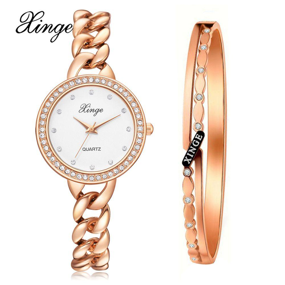 2864a0c1523 Wholesale Brand Rose Gold Watch Women Quartz Watches Bracelet Watch Set  Wristwatch Stainless Steel Waterproof Fashion Watches Suit Unique Watches  Black ...