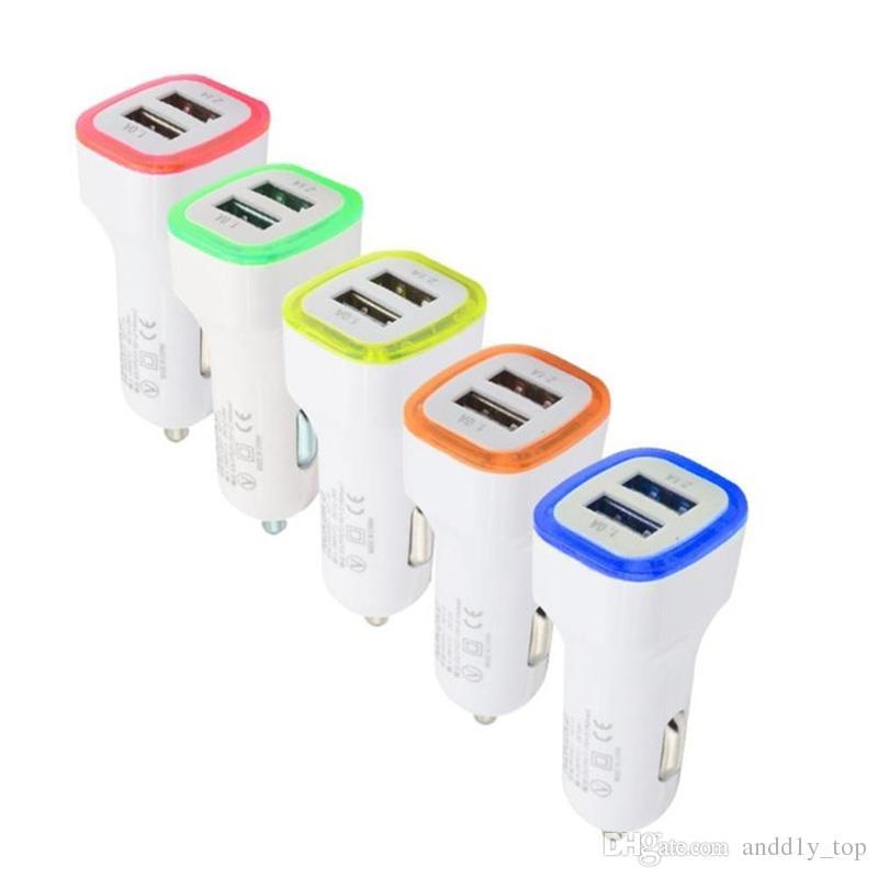 Dual LED Usb Car Charger Vehicle Power Adapter portatile 5V 1A Samsung S8 Nota 8