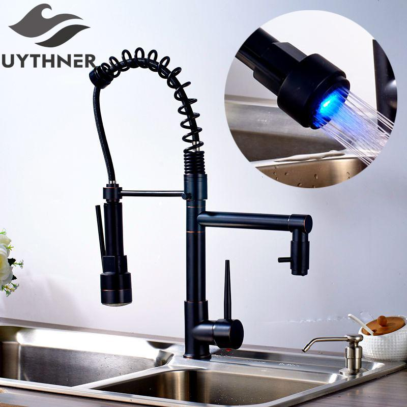Uythner Modern Solid Brass Oil Rubbed Bronze Kitchen Faucet Mixer Tap with  LED Single Sharp Handle Single Hole