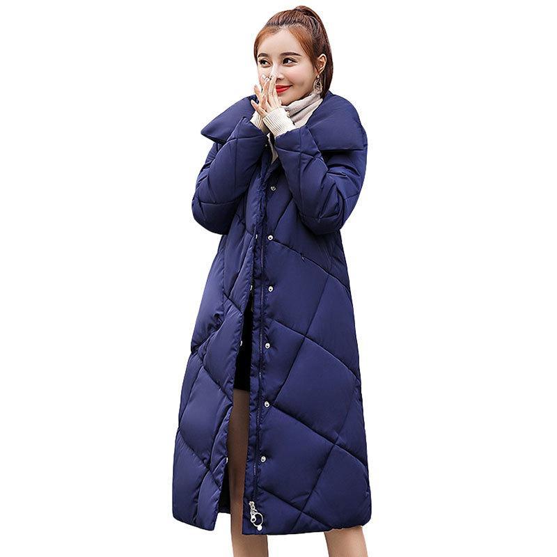 Compre Novo 2018 Moda Mulheres Jaqueta De Inverno Gola De Algodão  Acolchoado Casaco Jaqueta Feminina De Inverno Outwear Das Mulheres Longas  Slim Para Baixo ... 527842f2d583