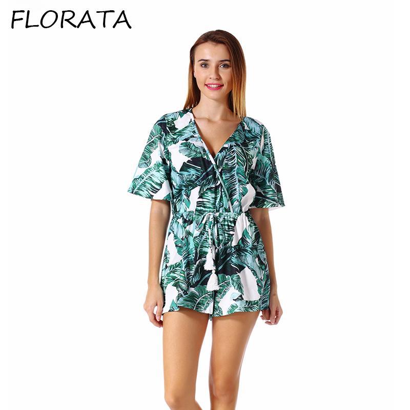 8436114b930 Compre FLORATA Moda Para Mujer Verano Más Nuevos Vestidos Casuales Media Manga  Escote En V Profundo Por Encima De La Rodilla Estampado Corto Playa Suelta  ...
