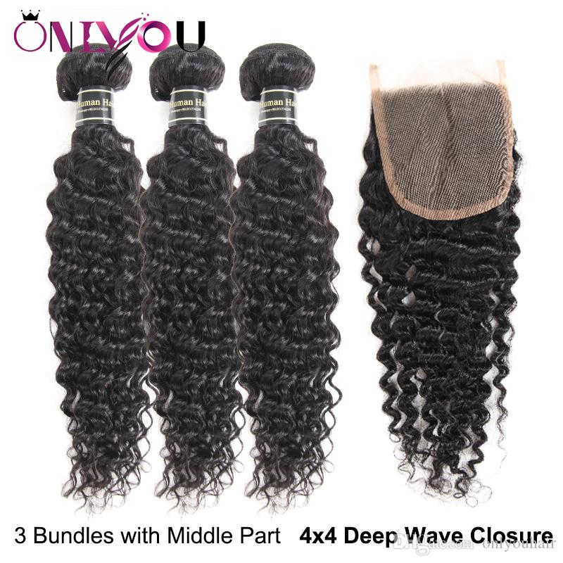 Big Promoção Profunda Onda Do Cabelo Humano Weave Bundles com Fechamento Brasileiro Profunda Encaracolado Cabelo Virgem e Encerramento Do Laço Molhado e Ondulado Extensões de cabelo