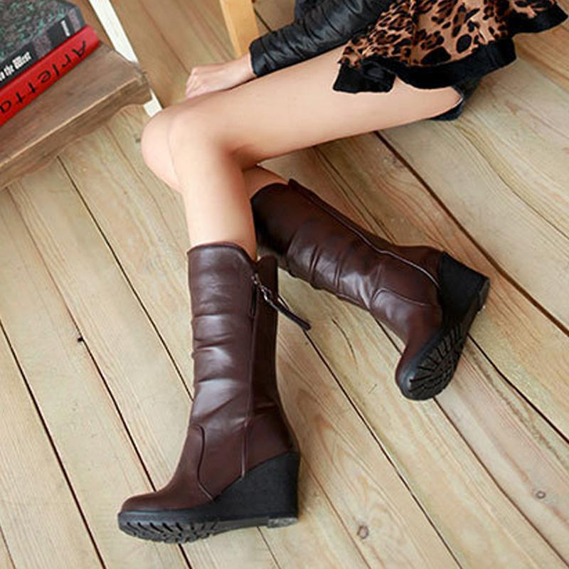 1a047e9b686 Women S Wedges Heel Platform Mid Calf Boots Autumn Plus Size Fold Zipper  Casual Ladies Shoes Faux Leather Fashionable Footwear Hiking Boots Shoes  For Women ...