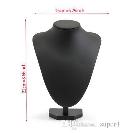 Noir Volor Forme PU cuir Mannequin Bijoux présentoir pour comptoir vitrine Collier / Pendentif Bust Affiche Porte